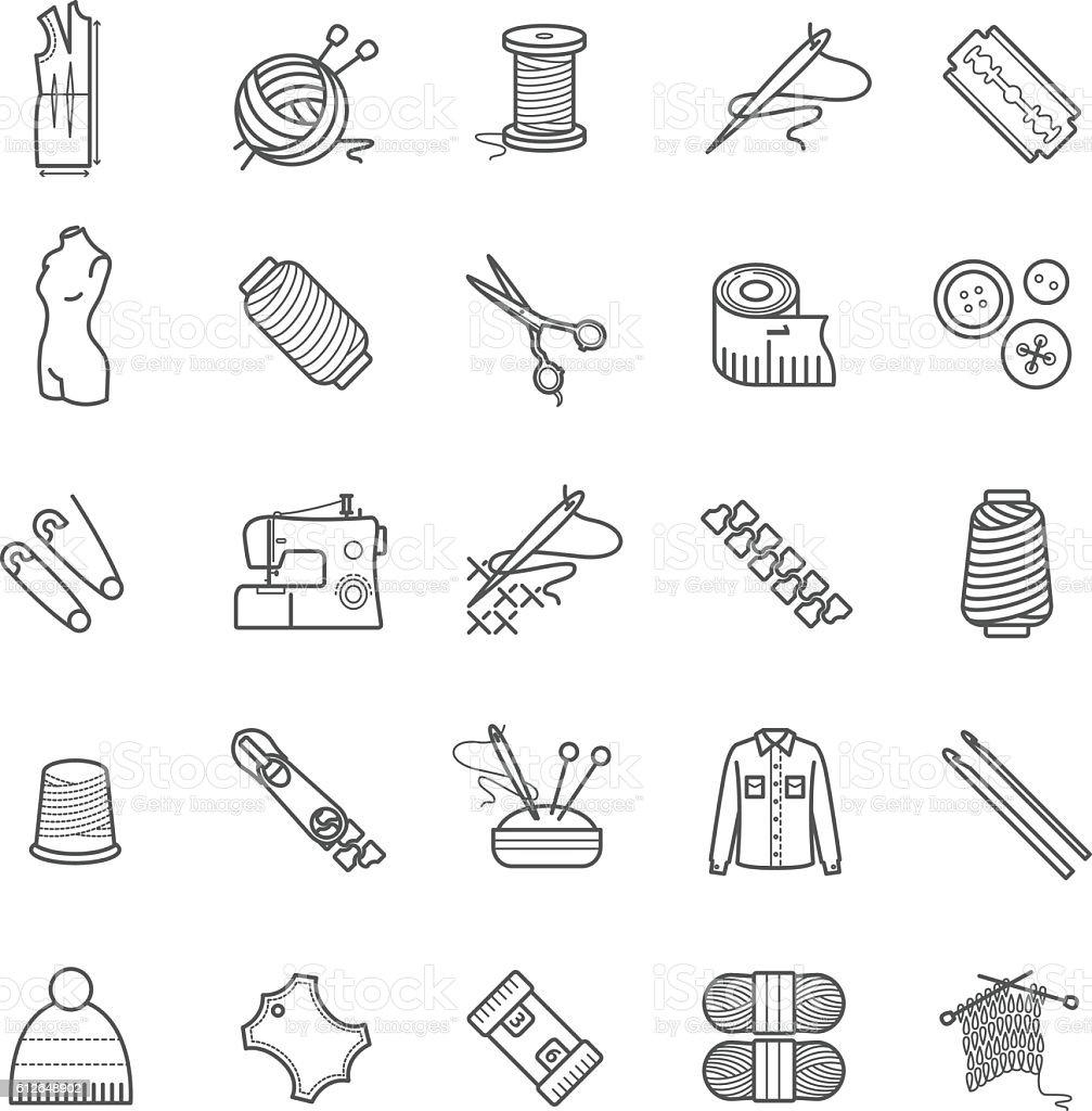 Outline web icons - needlework, sewing, knitting vector art illustration