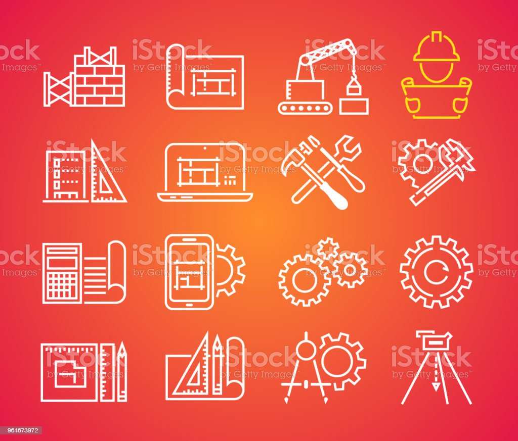 Outline web icons set - building, construction and home repair tools. Engineering line icon royalty-free outline web icons set building construction and home repair tools engineering line icon stock vector art & more images of black color