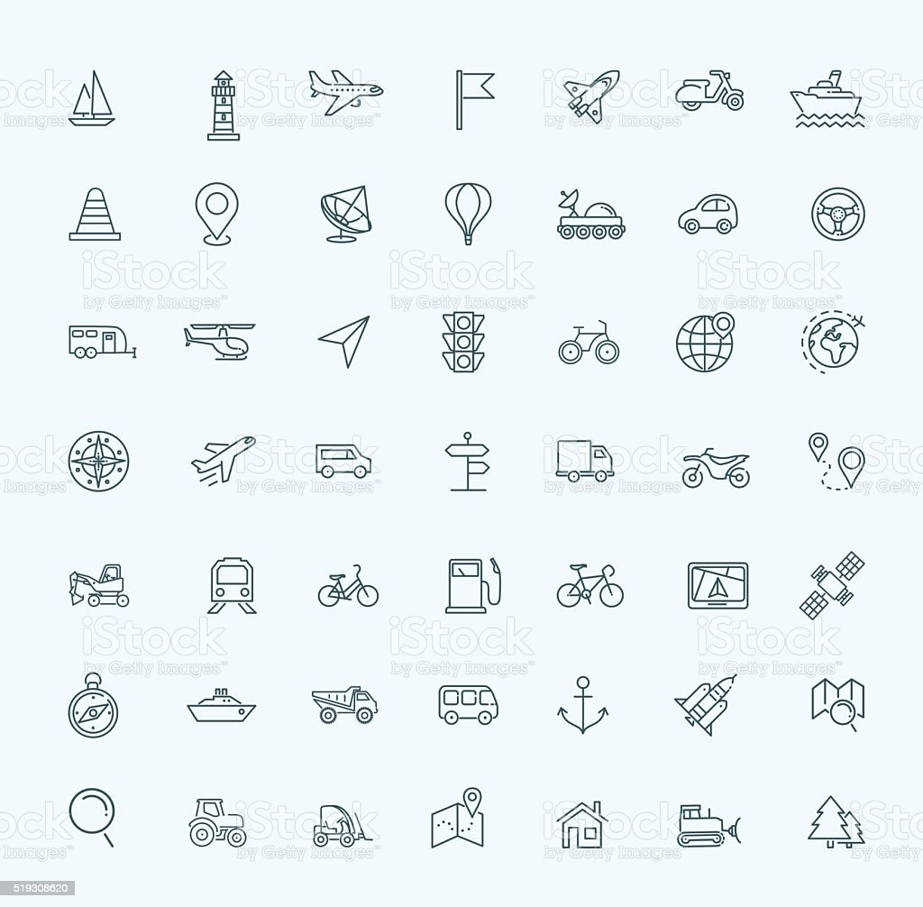 Outline web icons set - navigation, location, transportation vector art illustration