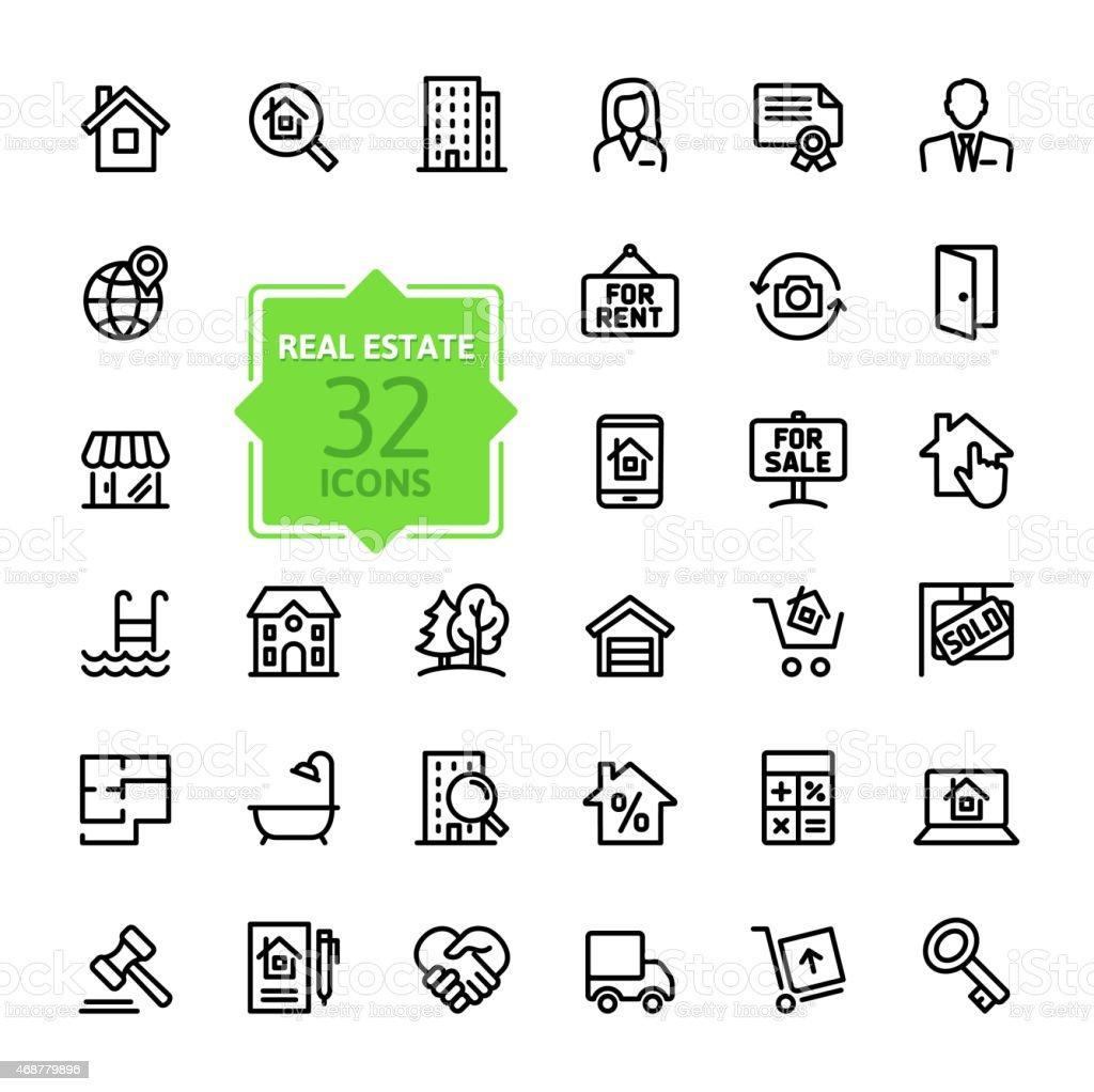 Outline web icons set - Real Estate vector art illustration