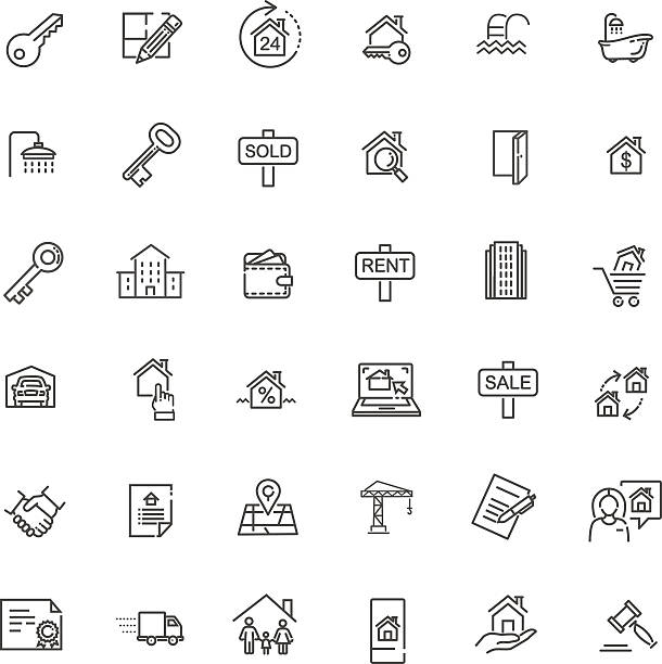 Outline web icons set - Real Estate line web icons set - Real Estate house key stock illustrations