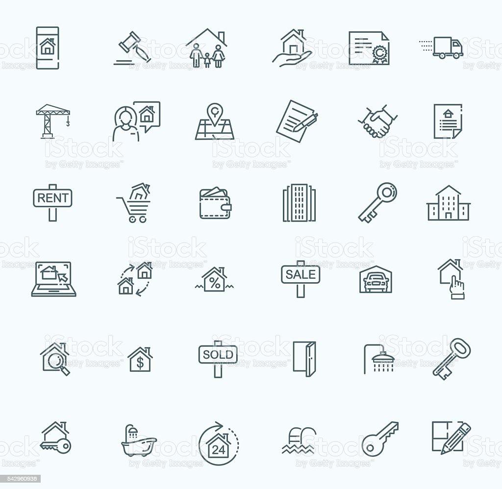 Outline web icons set - Real Estate