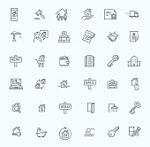 vector line web icons set - Real Estate