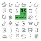 Outline web  mono symbol  vector  icon set  - ( drink , coffee machine, tea, alcohol )