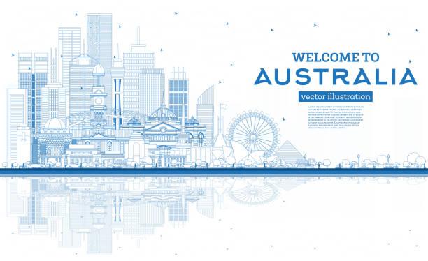 bildbanksillustrationer, clip art samt tecknat material och ikoner med disposition välkommen till australiens skyline med blå byggnader och reflektioner. - canberra skyline