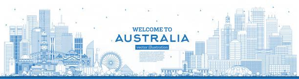 bildbanksillustrationer, clip art samt tecknat material och ikoner med disposition välkommen till australiens skyline med blue buildings. - canberra skyline