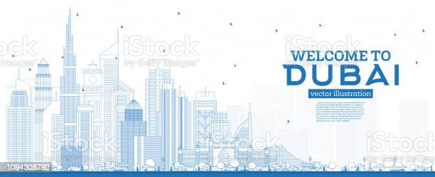 Outline welcome to dubai uae skyline with blue buildings vector id1094308792?b=1&k=6&m=1094308792&s=612x612&h=la2l9pm3ehgwv5eupqnpznte z qm6r2kst9vpnwtyu=