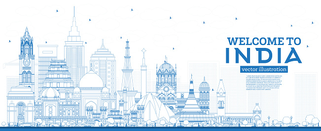 Outline Welcome to India City Skyline with Blue Buildings.