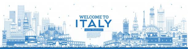 illustrazioni stock, clip art, cartoni animati e icone di tendenza di outline welcome to italy skyline with blue buildings. famous landmarks in italy. - palermo città