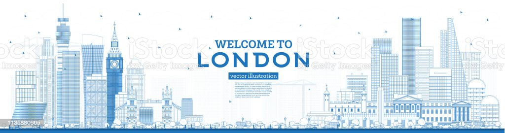 Outline Welcome to London England Skyline with Blue Buildings. Vector...