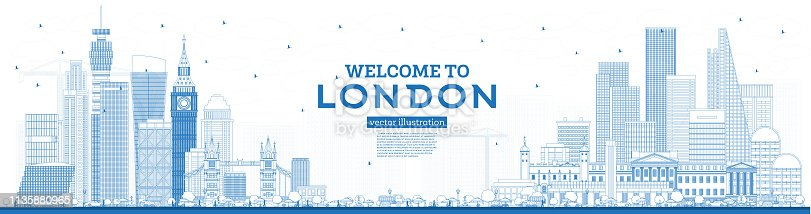 Outline Welcome to London England Skyline with Blue Buildings.