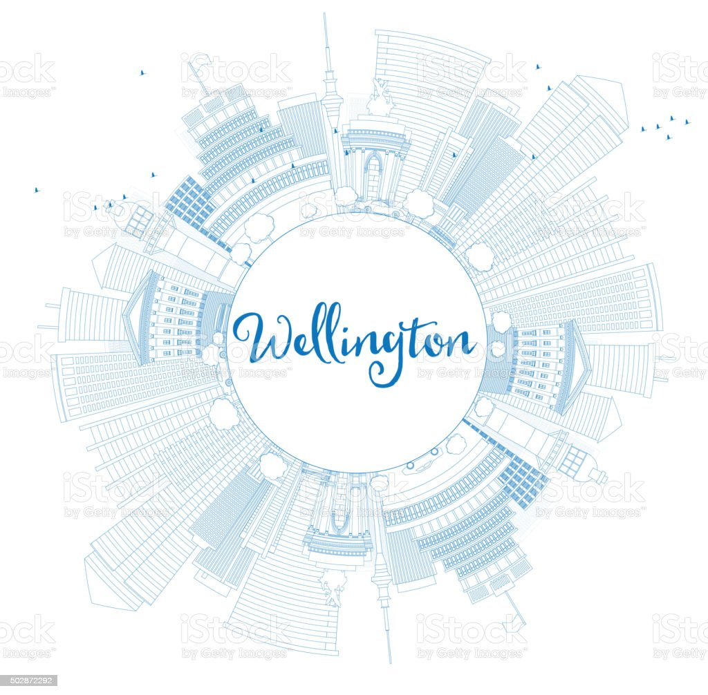 Outline Wellington skyline with blue buildings and copy space. vector art illustration