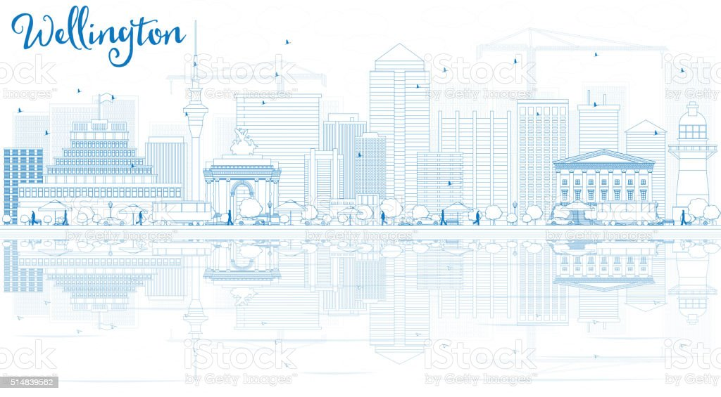 Outline Wellington skyline with blue buildings and reflections. vector art illustration