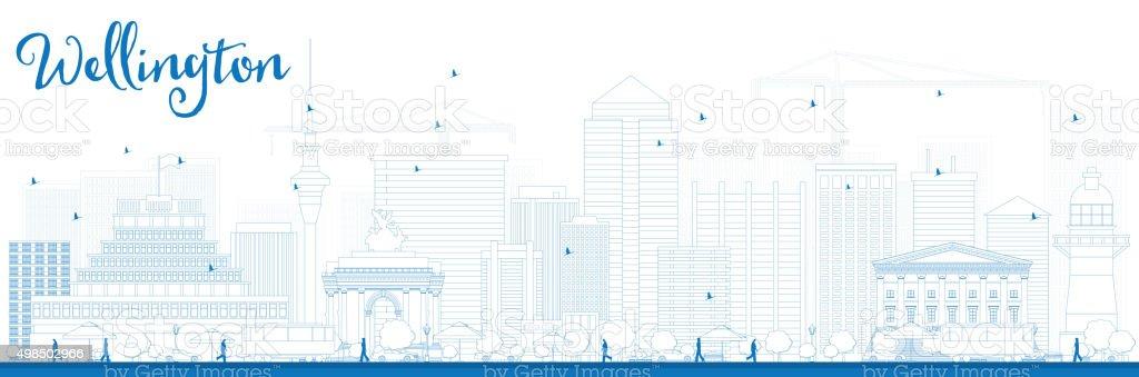 Outline Wellington skyline with blue buildings. vector art illustration