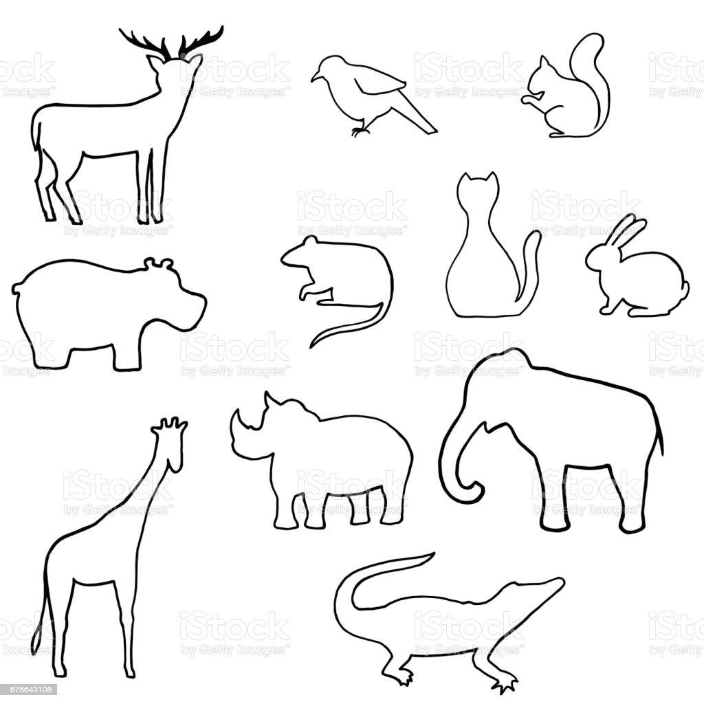 outline wild animal vector illustration royalty free outline wild animal vector illustration stock vector - Animal Outlines