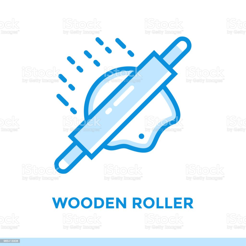 Outline WOODEN ROLLER icon. Vector pictogram suitable for print, website and presentation outline wooden roller icon vector pictogram suitable for print website and presentation - stockowe grafiki wektorowe i więcej obrazów bez ludzi royalty-free