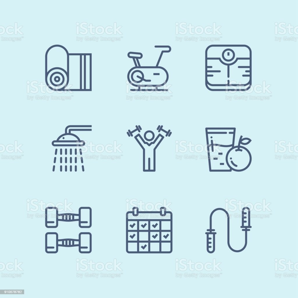 Outline Workout, fitness, gym icons for web and mobile design pack 3 vector art illustration