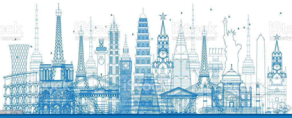 Outline world famous landmarks. Vector illustration. vector art illustration