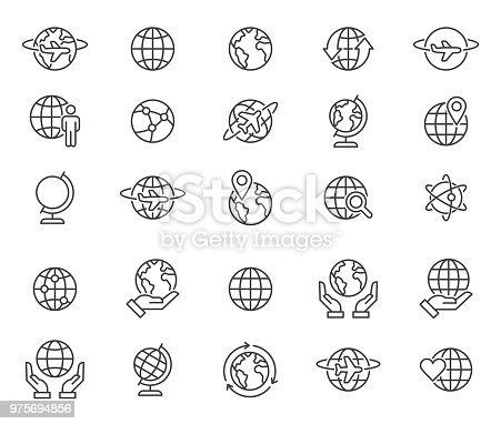 simple set of thin line globe related icons elements for travel and tourism concepts and apps