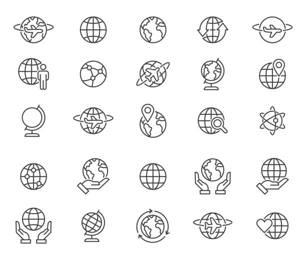 概要世界の地球儀アイコンを設定 - 地球点のイラスト素材/クリップアート素材/マンガ素材/アイコン素材