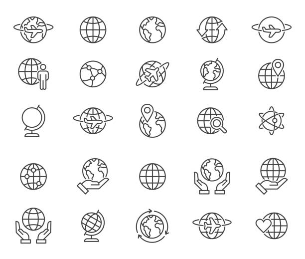 illustrazioni stock, clip art, cartoni animati e icone di tendenza di outline world globes icons set - terra