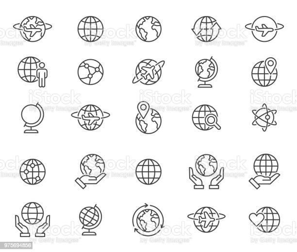 Outline World Globes Icons Set - Arte vetorial de stock e mais imagens de Acariciar