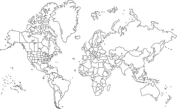 Outline World Map outlined , high detail world map ... extreme close up stock illustrations