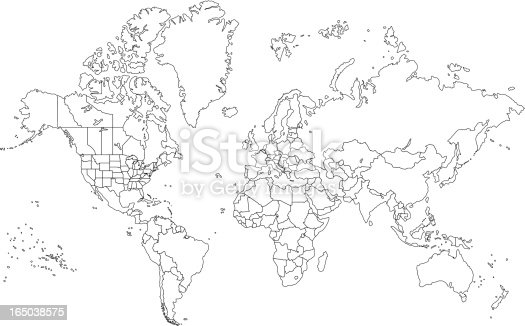 Outline world map stock vector art more images of abstract outline world map stock vector art more images of abstract 165038575 istock gumiabroncs Choice Image