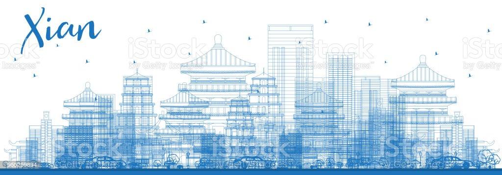 Outline Xian City Skyline with Blue Buildings. vector art illustration