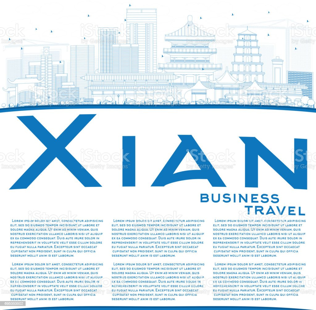 Outline Xian Skyline with Blue Buildings and Copy Space. vector art illustration