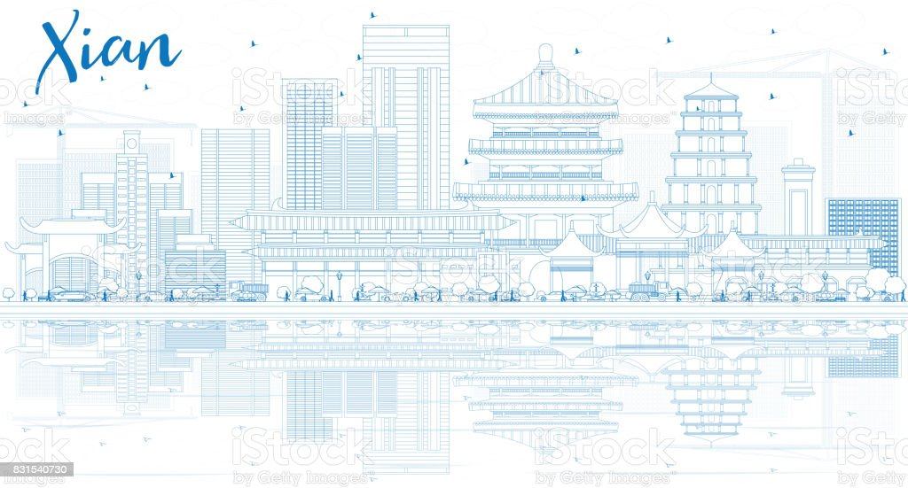 Outline Xian Skyline with Blue Buildings and Reflections. vector art illustration