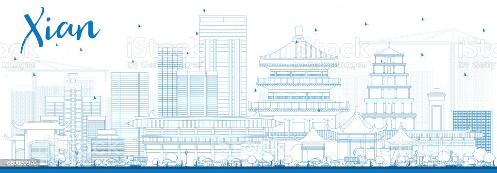 Outline Xian Skyline with Blue Buildings. vector art illustration