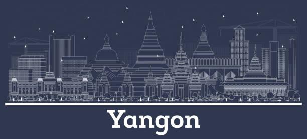outline yangon myanmar city skyline with white buildings. - burma home do stock illustrations