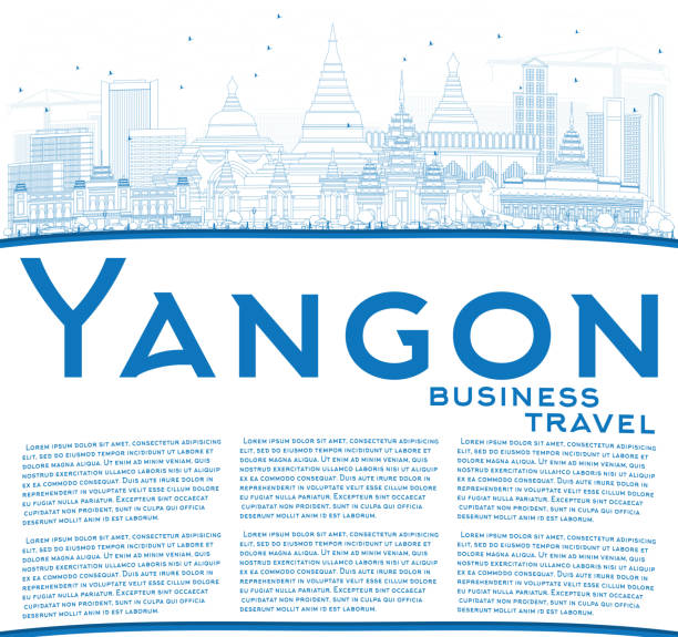 outline yangon skyline with blue buildings and copy space. - burma home do stock illustrations