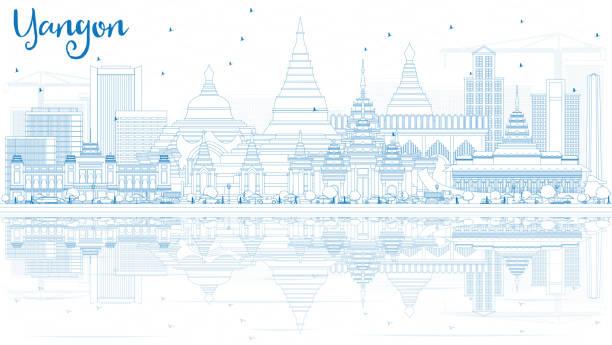 outline yangon skyline with blue buildings and reflections. - burma home do stock illustrations