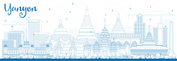 outline yangon skyline with blue buildings. - burma home do stock illustrations