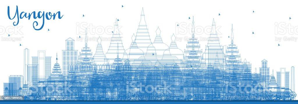 Outline Yangon Skyline with Blue Buildings. outline yangon skyline with blue buildings - stockowe grafiki wektorowe i więcej obrazów architektura royalty-free