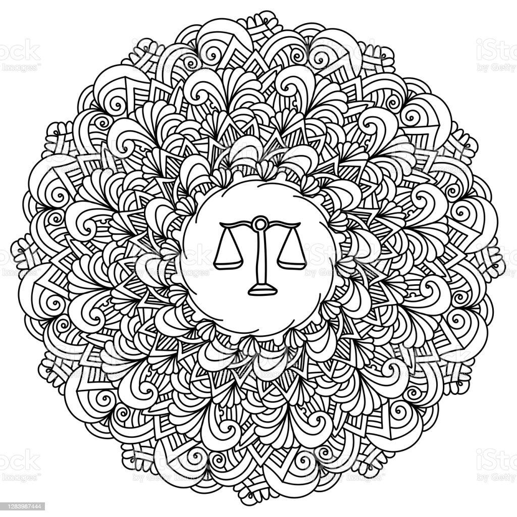 Ilustración De Esquema Zen Mandala Con Signo Del Zodiaco Libra En El Centro Página Para Colorear Antiestérso Doodle Con Rizos Y Ondas Y Más Vectores Libres De Derechos De Acurrucado Istock