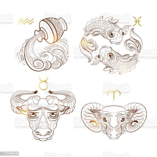 Umrissen Sie Tierkreiszeichen Stier Widder Fische Wassermann Vector Illustration Stock Vektor Art Und Mehr Bilder Von Abstrakt Istock