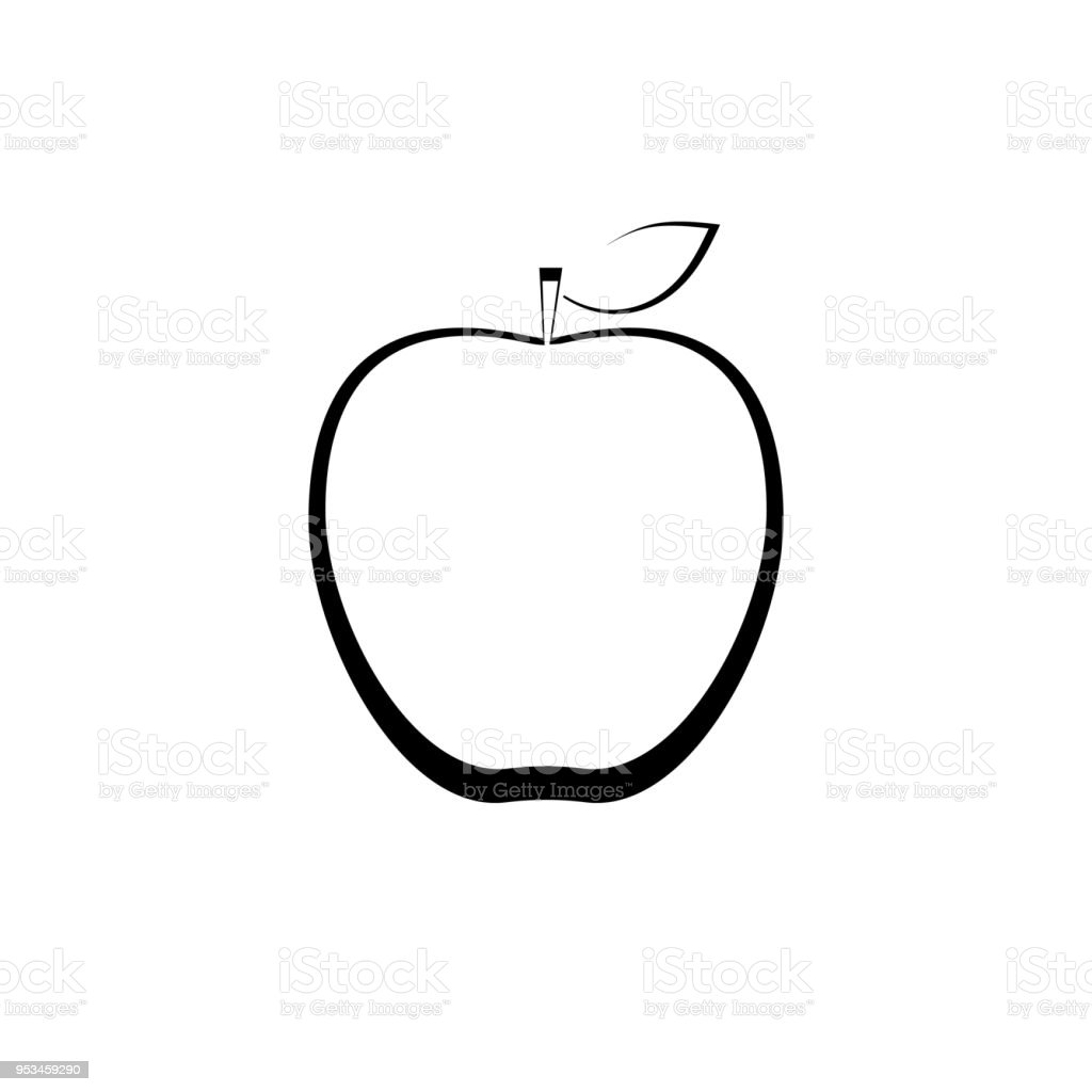 outlined apple sign stock vector art & more images of apple - fruit
