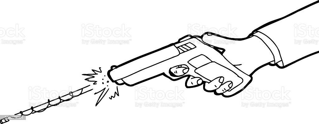 Vetores De Esboco De Desenho De Arma Disparo E Mais Imagens De