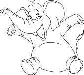 Outlined cheerful elephant