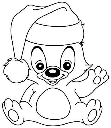 Outlined Christmas Waving Teddy Bear Stock Illustration