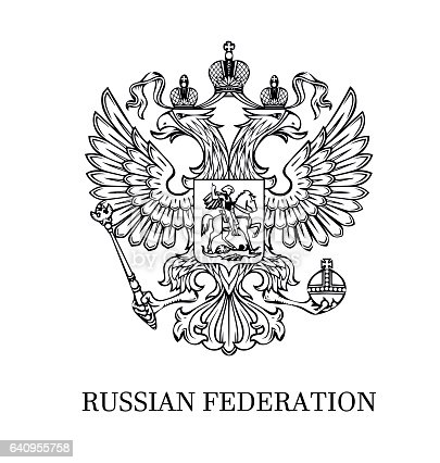 istock Outlined coat of arms of Russia 640955758