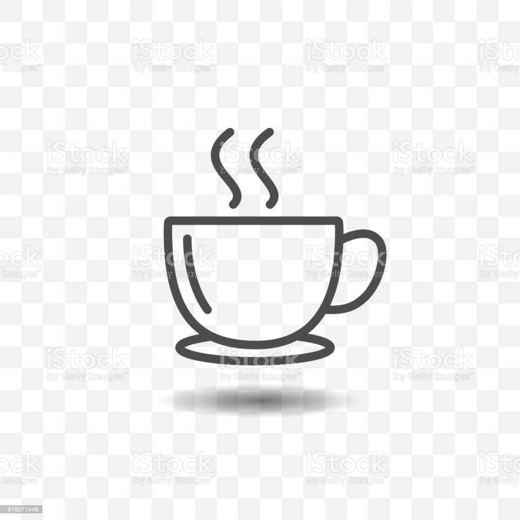 outlined coffee cup icon simple vector on transparent background