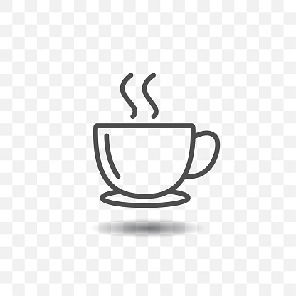 Outlined coffee cup icon simple vector on transparent background.