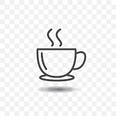 Outlined coffee cup icon simple vector with shadow on transparent background.