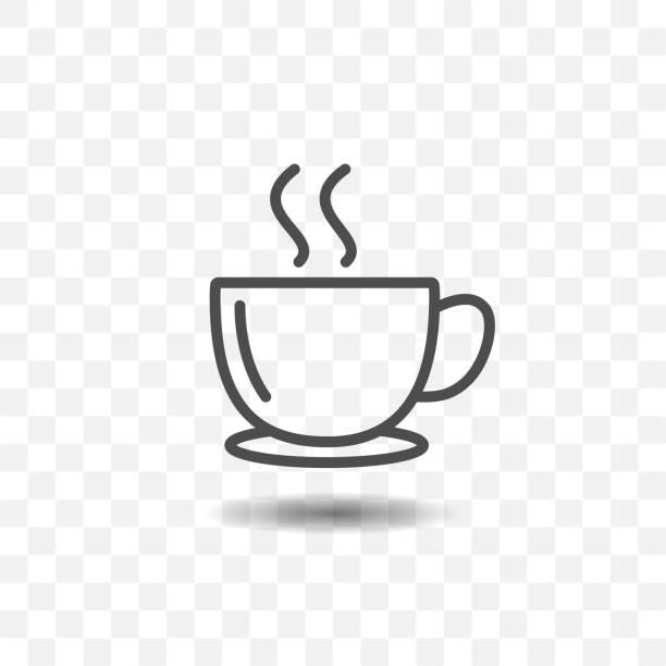 kaffee tasse icon einfach vektor auf transparenten hintergrund skizziert. - cafe stock-grafiken, -clipart, -cartoons und -symbole