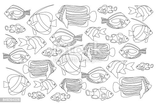 A black and white version of an illustration of a fish out of water Clipart  | k10366910 | Fotosearch