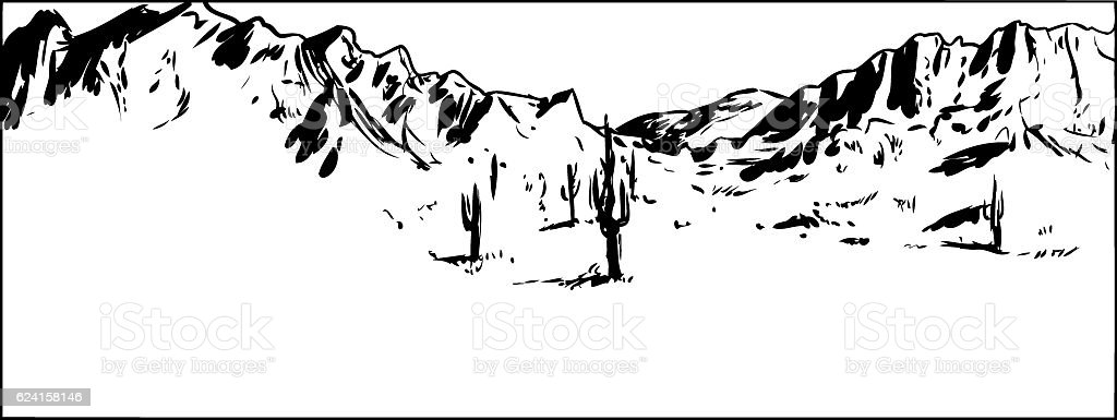 Outlined Desert Mountain Background with Clear Sky vector art illustration